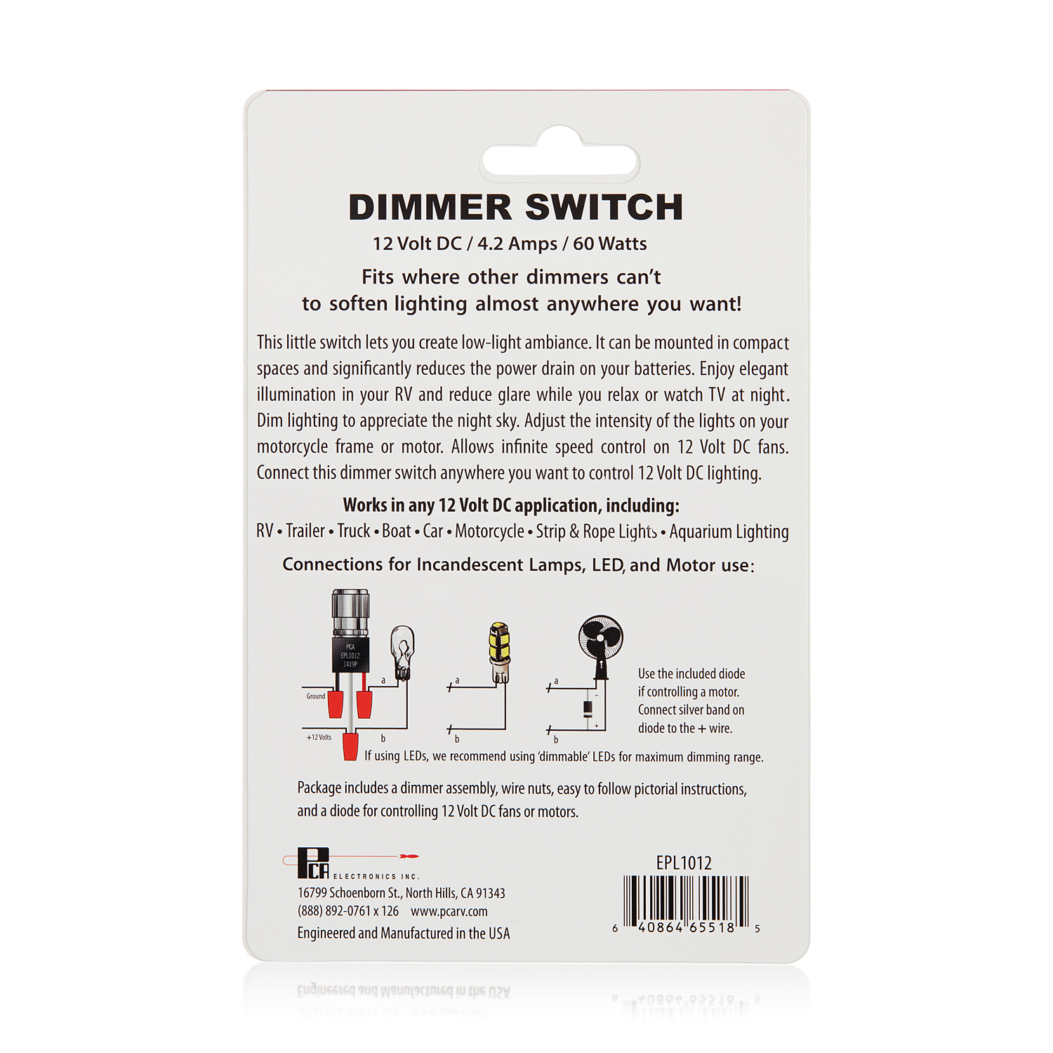 Pcarv Recreational Vehicle Products Division 12v Dc Dimmer Wiring A Lamp Installation Instructions